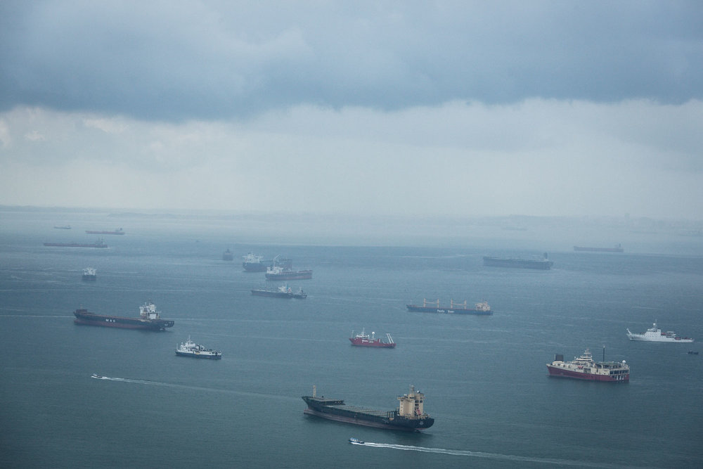 Freight Ships in the Ocean