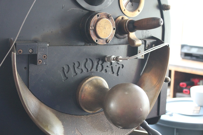 Attention in every detail: the Probat roaster perched on the loft at Pedalers Fork.