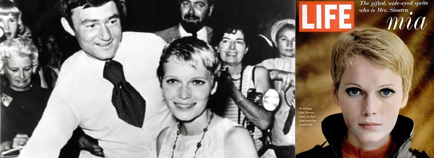 Vidal Sassoon with Mia Farrow during her pixie haircut in 1967 and Mia Farrow on the cover of Life Magazine, 1967.