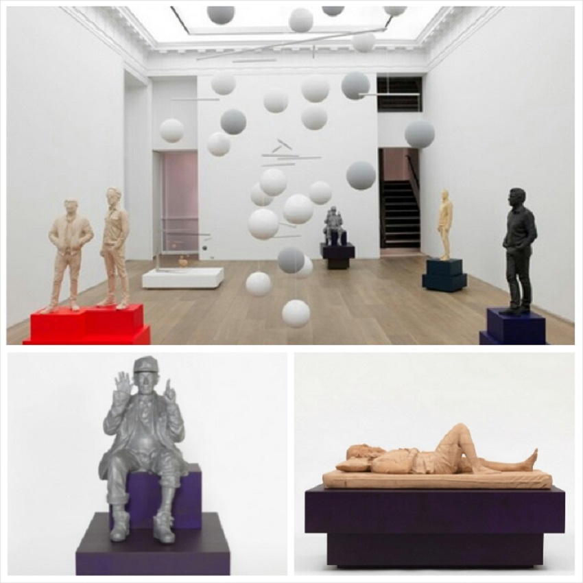 """From top clockwise: """"Music"""" exhibition in Galerie Perrotin's NY location, Rick Rubin in oak, plywood, acrylic paint and varnish, and Lee Scratch Perry in resin,aluminum,plywood and paint. Images courtesy of Galerie Perrotin."""