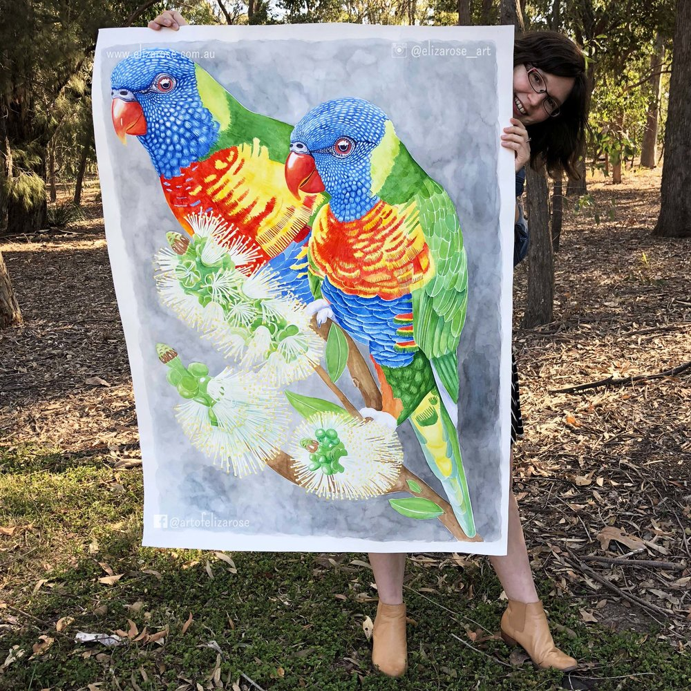 Original Painting - Rainbow Lorikeets 1 (with tags).jpg