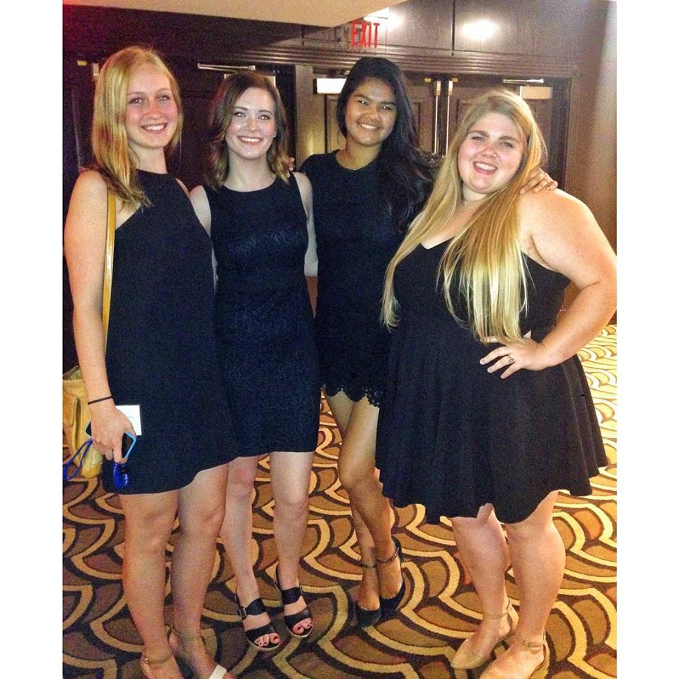 "My roommates and I at our internship ""banquet"" (any excuse to wear high heels, right?)"