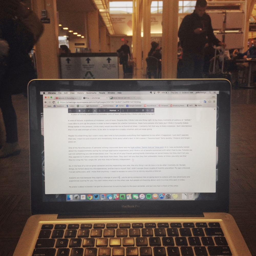 Writing at the airport; very cliché