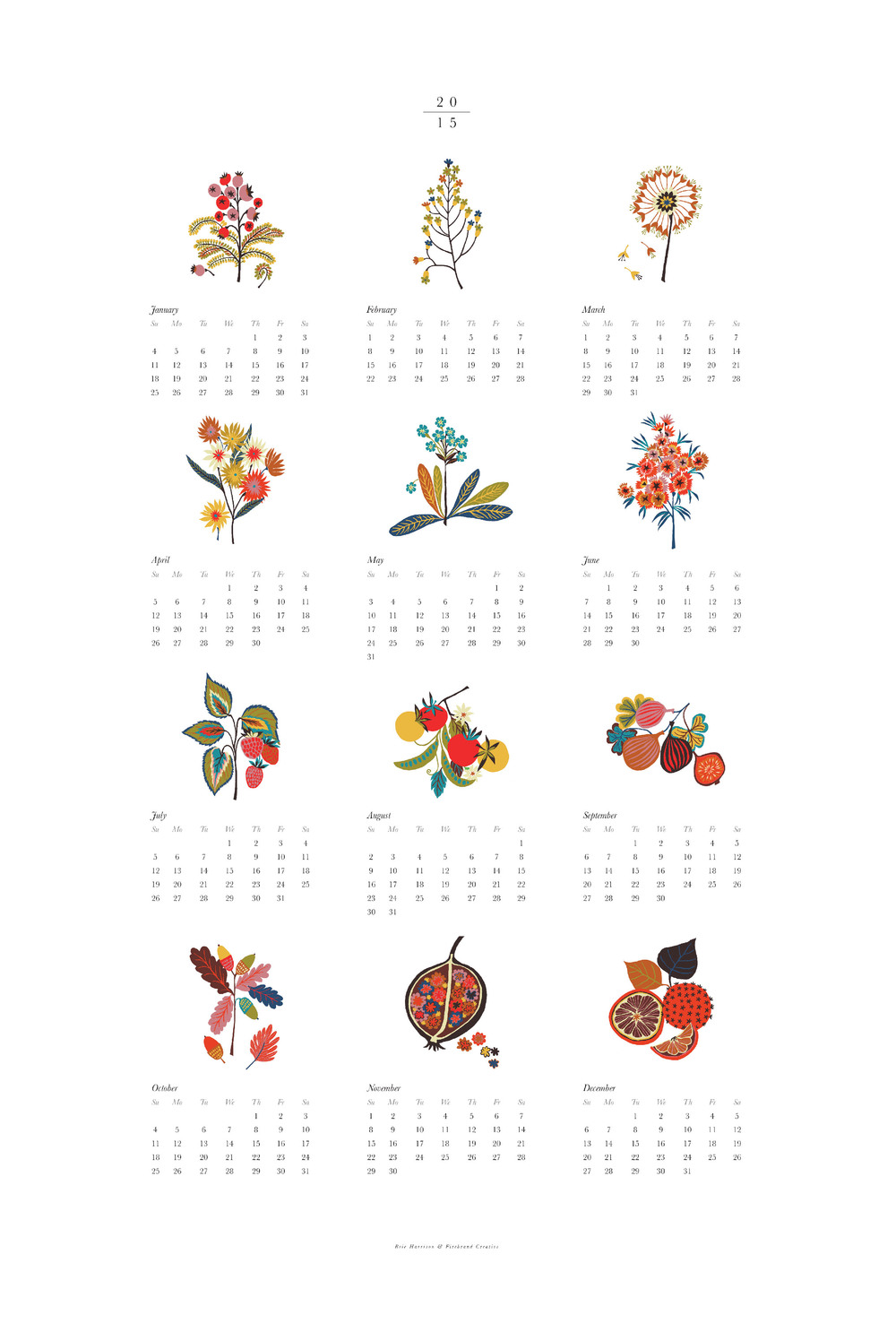 2015 Calendar, Lithograph, Collaboration with  Firebrand Creative    © Brie Harrison 2015