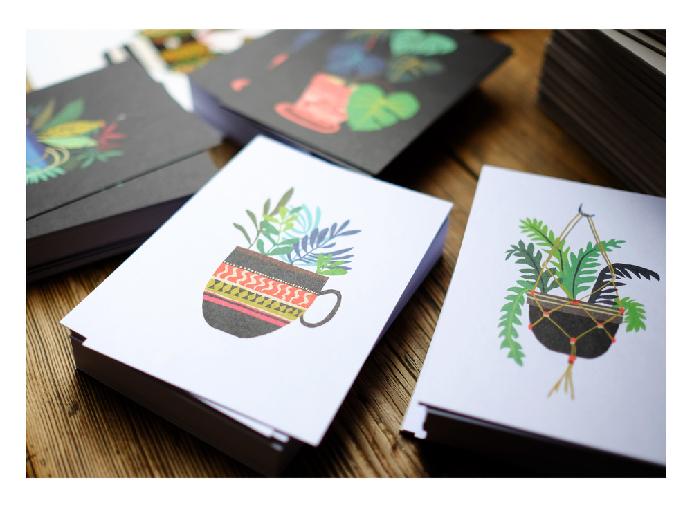 Pot Plants art postcards   © Brie Harrison 2015