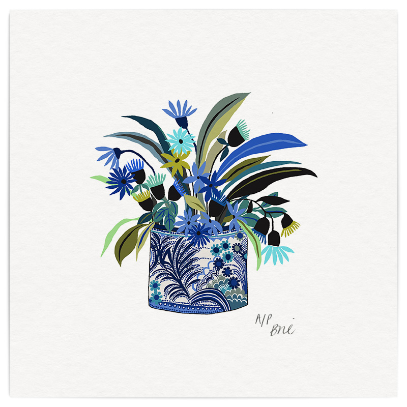 Blue Potplant Giclée Print on Archival Paper Edition of 20, signed 20 x 20cm   Edition sold    © Brie Harrison 2016
