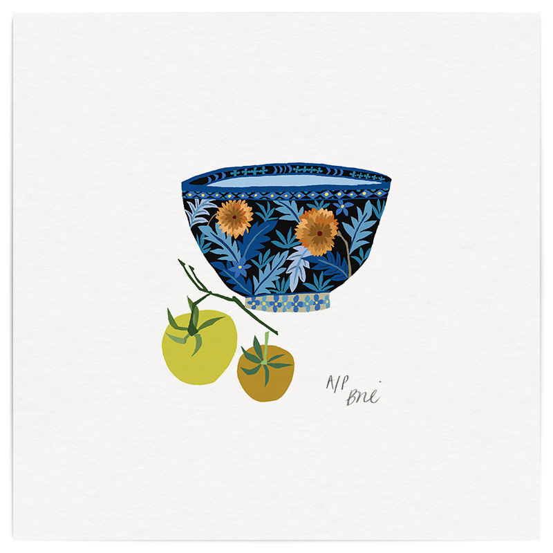 Bowl & Tomatoes Giclée Print on Archival Paper Edition of 40, signed 20 x 20cm Unframed  New....10 left  £34   © Brie Harrison 2016
