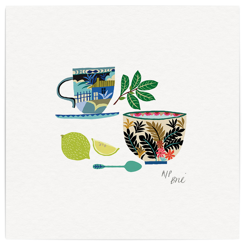 Herbal Tea Giclée Print on Archival Paper Edition of 40, signed 20 x 20cm Unframed   Edition sold   £34   © Brie Harrison 2016