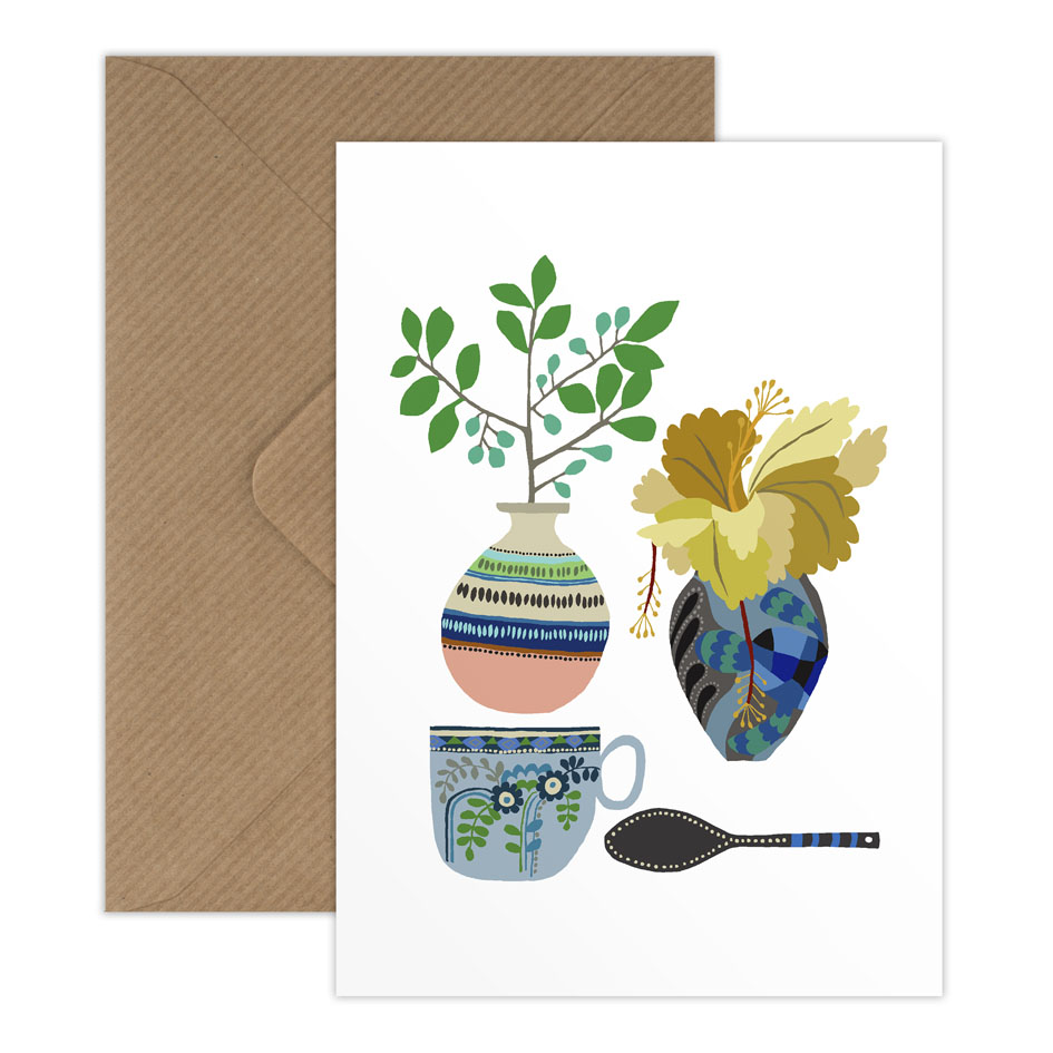Vase, Cup, Spoon single postcard with envelope