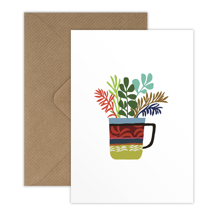 Fern Jade Cup mini greetings card
