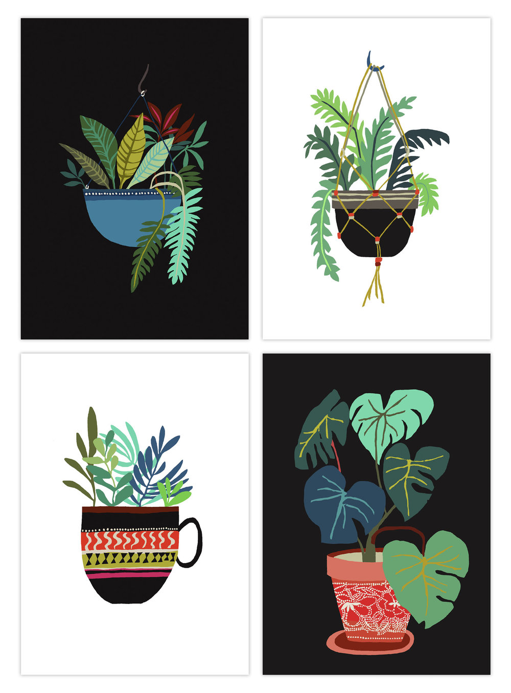 Pot Plant Series art postcard set