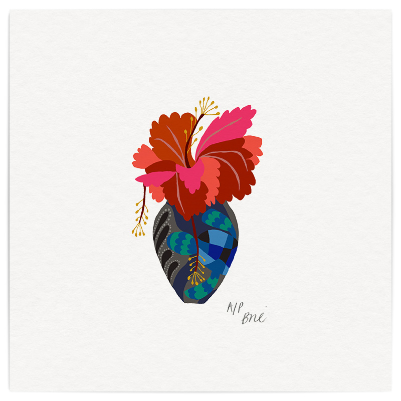 Hibiscus Giclée Print on Archival Paper Edition of 40, signed 20 x 20cm Unframed  New  £34   © Brie Harrison 2016