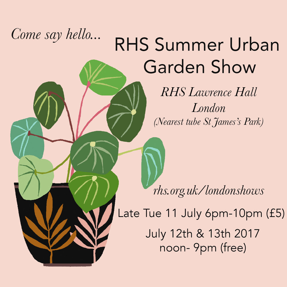 I'm excited to be taking part at the RHS Summer Urban Garden Show with some inspiring people such as Jacqueline Colley, Electric Daisy Flower farm, Het Groen Lab & Denys and Fielding to name a few. Plants, bulbs, gardening products & gifts, street food, free workshops, talks and installations. get yourself down to Lawrence Hall, London & come say hello.