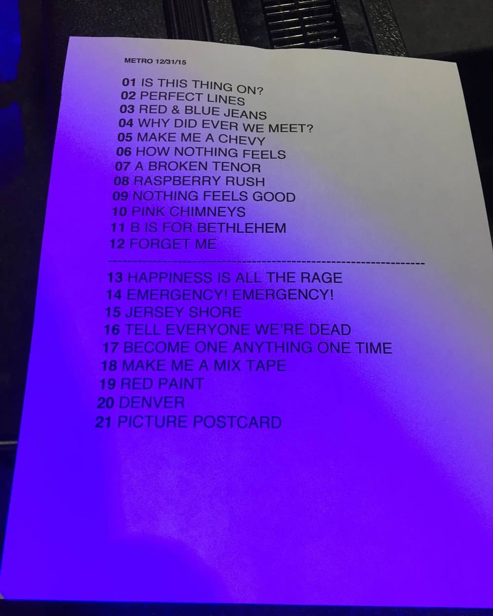 edderd: The Promise Ring's set list 12/31/2015 Chicago, IL.