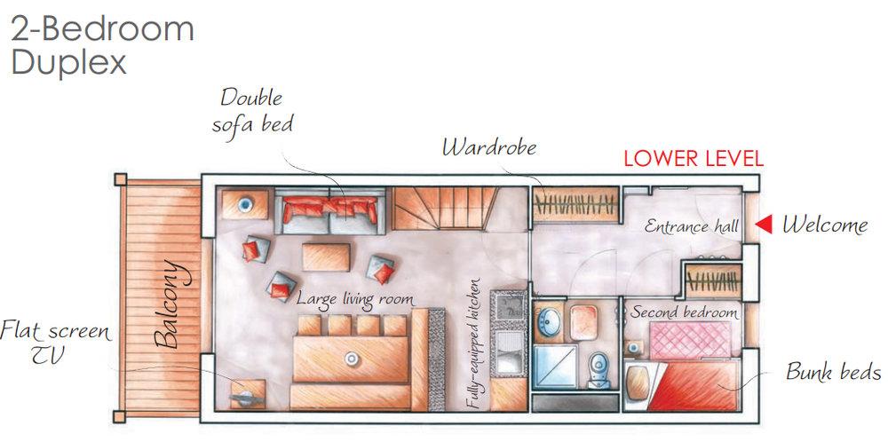 - 2 légteres 6 fős apartman + kabin : 46m2
