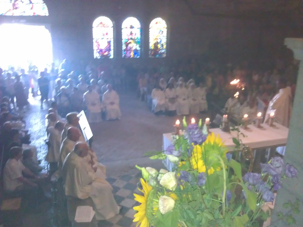 Behind the main altar during the mass.