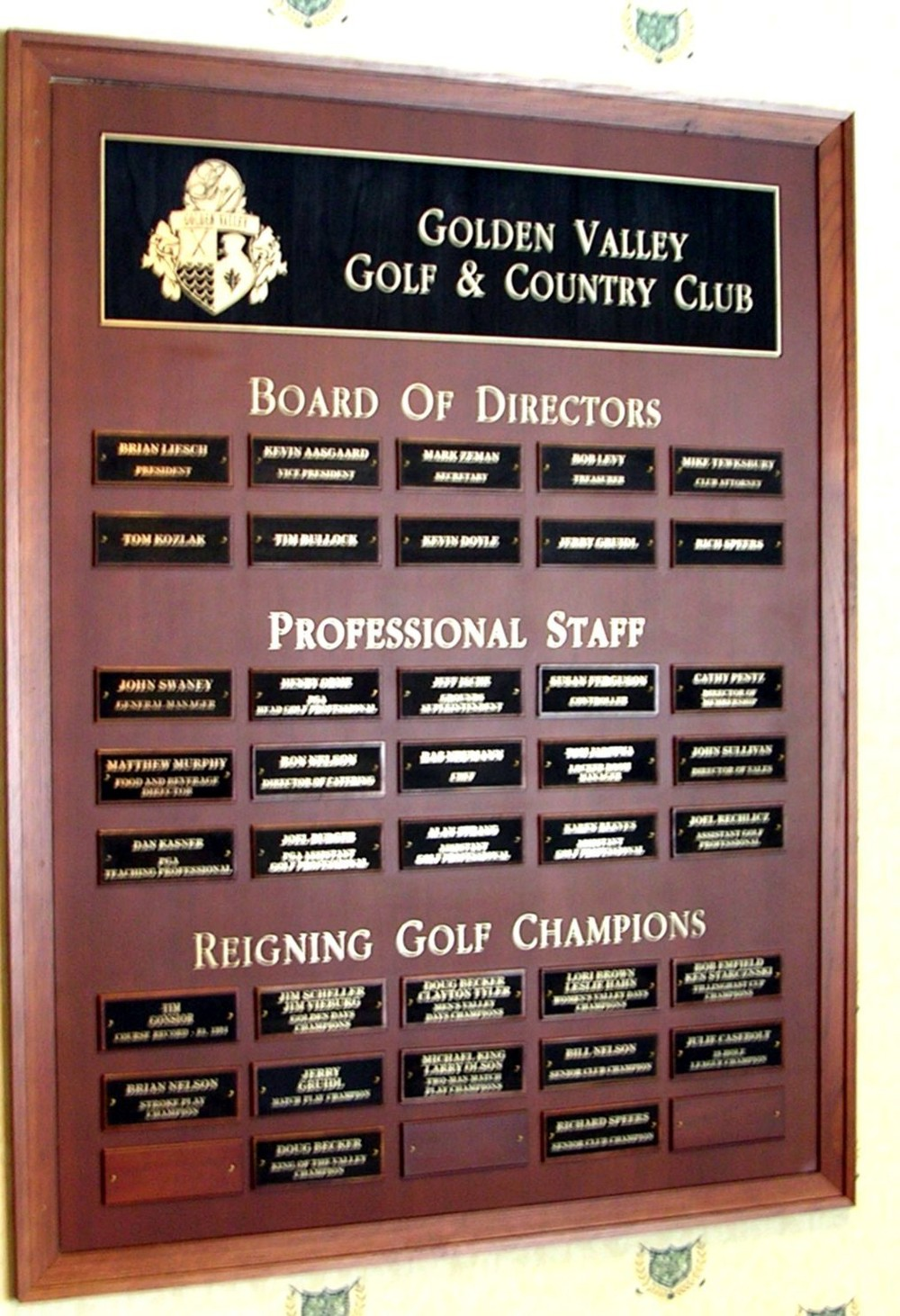 Board of Directors/Reigning Champ Plaque
