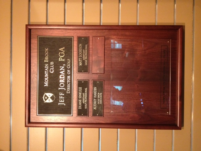 PGA Staff Plaque