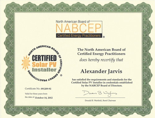 Certification & Resume — Solar Systems of Indiana