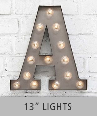 "Browse 13"" letter lights in our store"