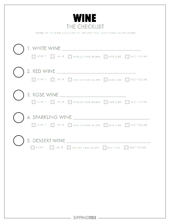 CHECK IT OFF! - Just drink the wine on each list, write down some info about it, and check it off when you're done. It's that easy! Don't take it too seriously. Have fun and soon enough you'll start to figure out you really like and why.