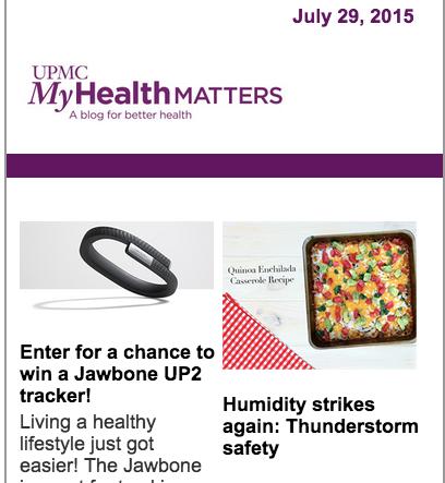 UPMC MyHealth Matters e-Newsletter — b giddings — portfolio