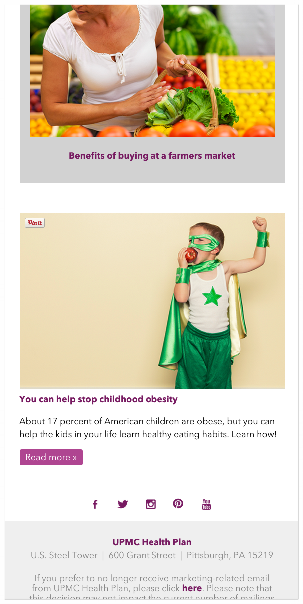 UPMC MyHealth Matters e-Newsletter — b giddings — portfolio