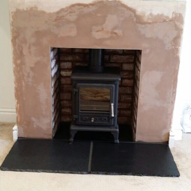 Stove and fireplace installation with brick slips #stove #fireplace #northlancs #southwellstoves #fire #hetas #