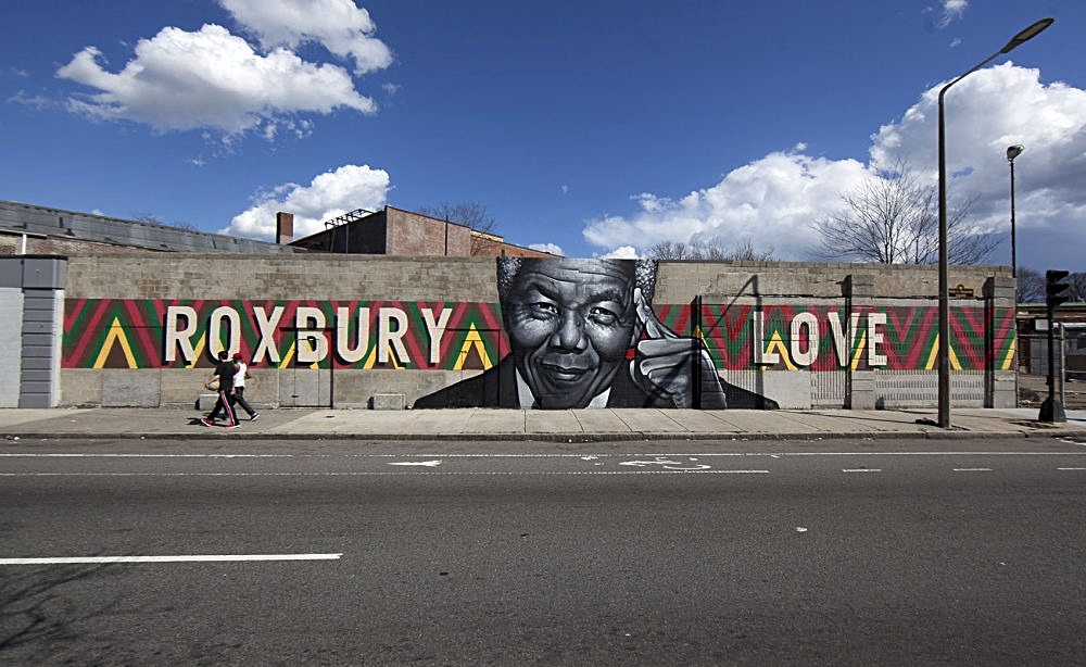 """Roxbury Love"" (Mandela) mural by Richard ""Deme5"" Gomez and Thomas ""Kwest"" Burns, Completed in 2014. Photo Credit: Joe Difazio for  WBUR"