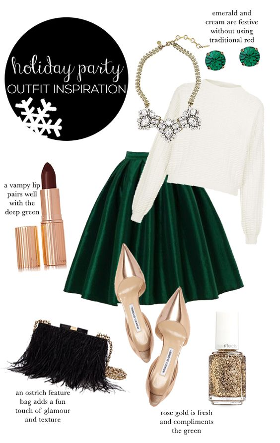 Be inspired this Holiday with a little emerald green and shimmer. Find staple pieces that already exist in your closet to recreate this look if you are on a tight budget. Improvising for this look will only make it the outcome that much sweeter. Get creative!  Pinterest