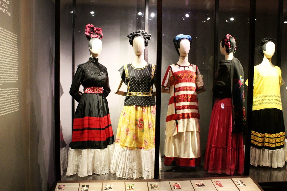 Frida's most famous styles on display at the temporary exhibit // Museo Frida Kahlo