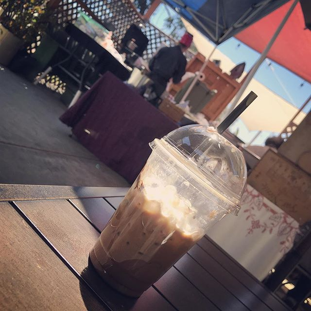 Funky Monkey Mocha n snack date with @rishonag & Nubs on a rare morning off at our favorite #coffee cabin  @little_mise_chef #cityheights #sandiego