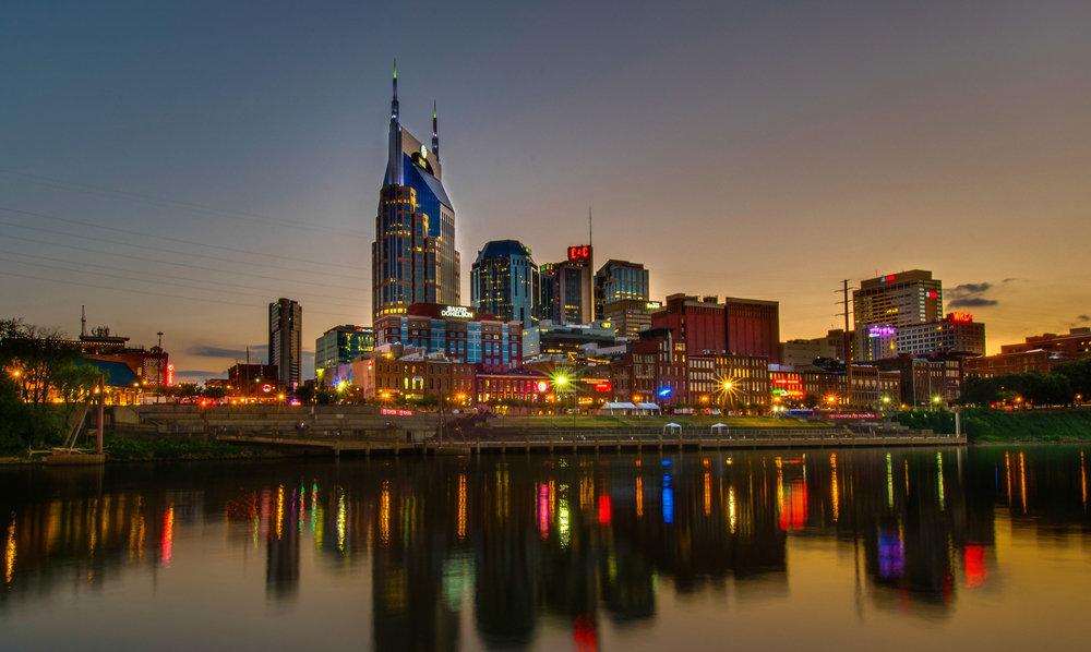 Recent image of downtown Nashville at night