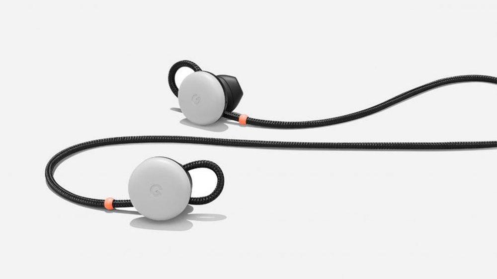 The Pixel Buds are wireless with a cloth cord connecting the left and right side