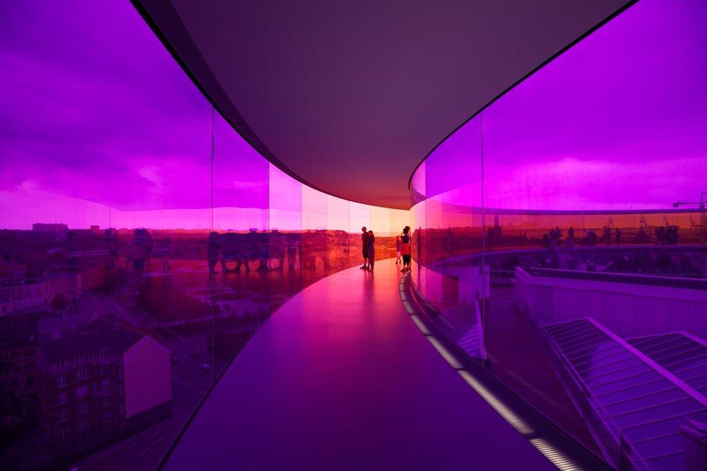 Olafur Eliasson; Your rainbow panorama, 2006-2011; Installation view: ARoS Aarhus Kunstmuseum, Denmark, 2011; Photo: Thilo Frank / Studio Olafur Eliasson /Courtesy: AaRos Aarhus Kunstmueseum © 2006-2011 Olafur Eliasson