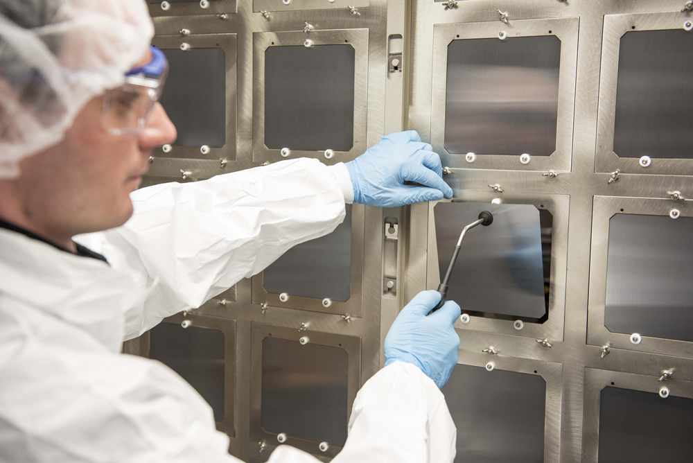Oxford PV's 156 mm x 156 mm perovskite-silicon tandem solar cells at the company's industrial pilot line, Germany