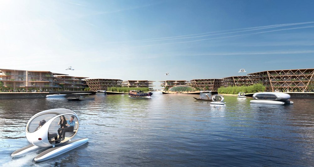 Floating modules would be arranged to protect an inner circle of water