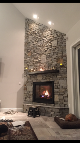 This Fireplace was installed by Monette Landscaping's sister company Dynamic Rocks.