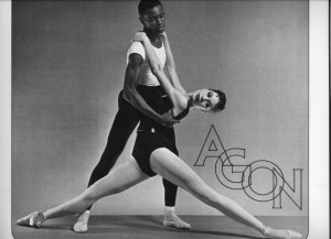 "Mitchell partners ballerina Diana Adams in Balanchine's masterpiece ""Agon."" The piece debuted in 1957 to an audience critical of the interracial cast."