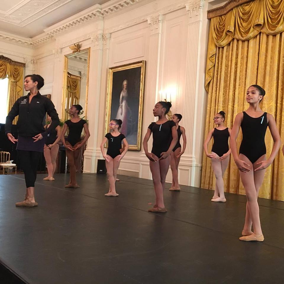 Dance Theatre of Harlem Company member Lindsey Croop and Washington DC dancers in a masterclass led by Artistic Director Virginia Johnson in the East Room this morning. (Photo: DTH)
