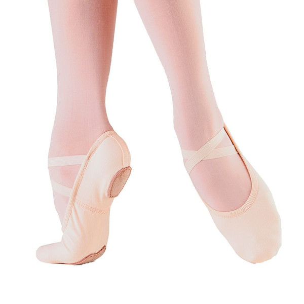 "Soft ballet slippers or ""flat"" shoes are comfortable and flexible, allowing the ballerina to strength, stretch and warm up her feet."