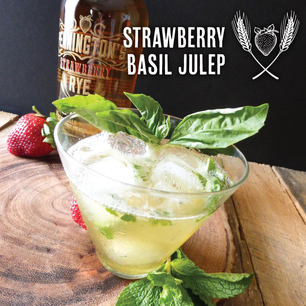 Strawberry Basil Julep cocktail with Pennington's Strawberry Rye