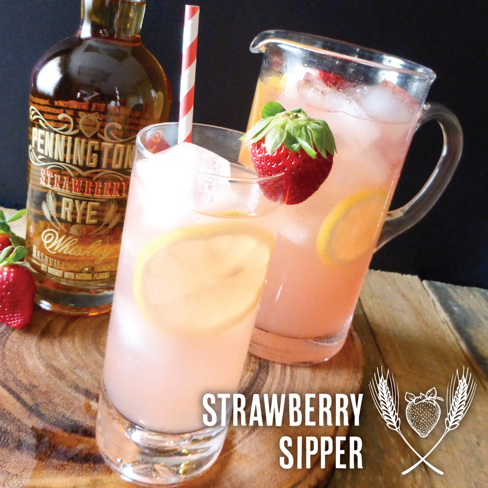 Strawberry Sipper - made with Pennington's Strawberry Rye Whiskey and pink lemonade
