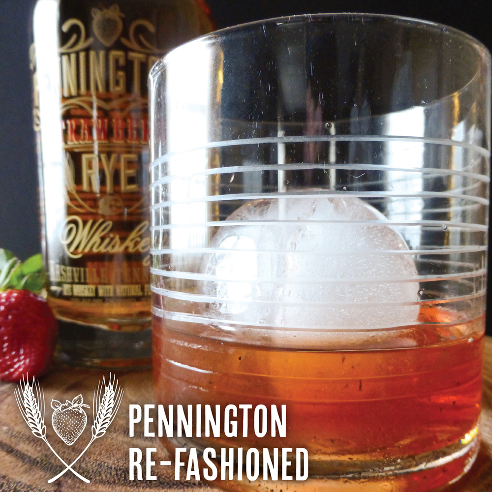 A new take on an Old Fashioned with Pennington's Strawberry Rye Whiskey