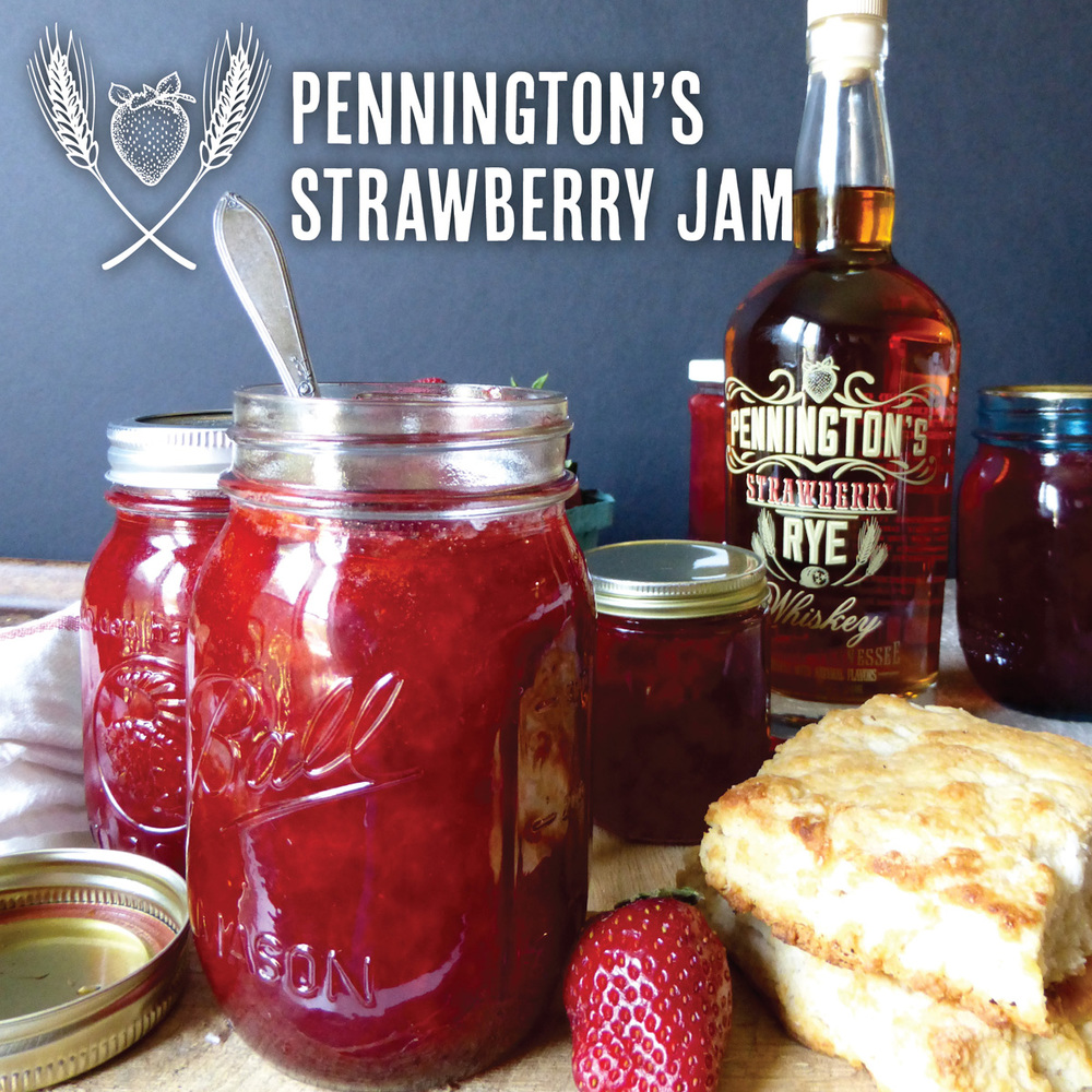 Homemade strawberry jam with a boost of flavor from Pennington's Strawberry Rye Whiskey!