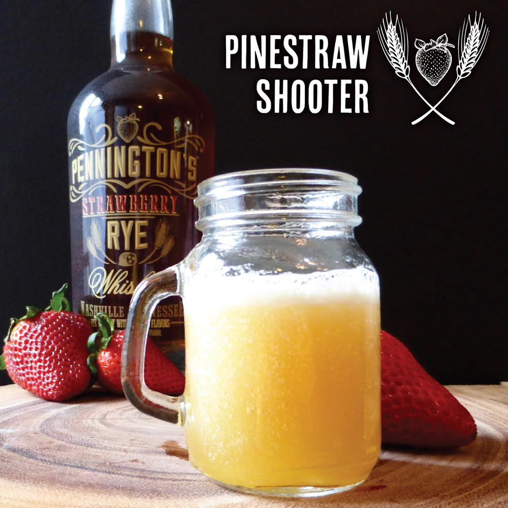 Pineapple juice and Pennington's Strawberry Rye Whiskey combine to make the Pinestraw Shooter!