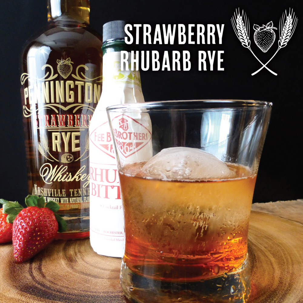 Strawberry Rhubarb Rye cocktail with Pennington's Strawberry Rye