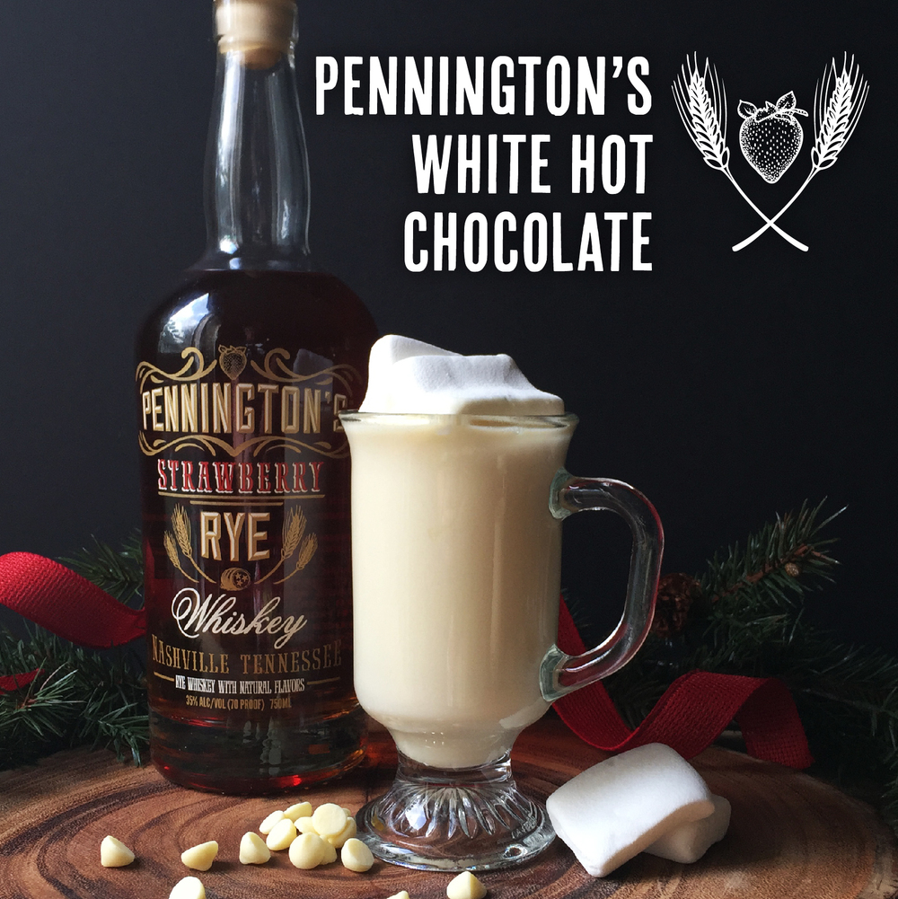 Delicious and easy recipe for White Hot Chocolate with Pennington's Strawberry Rye Whiskey