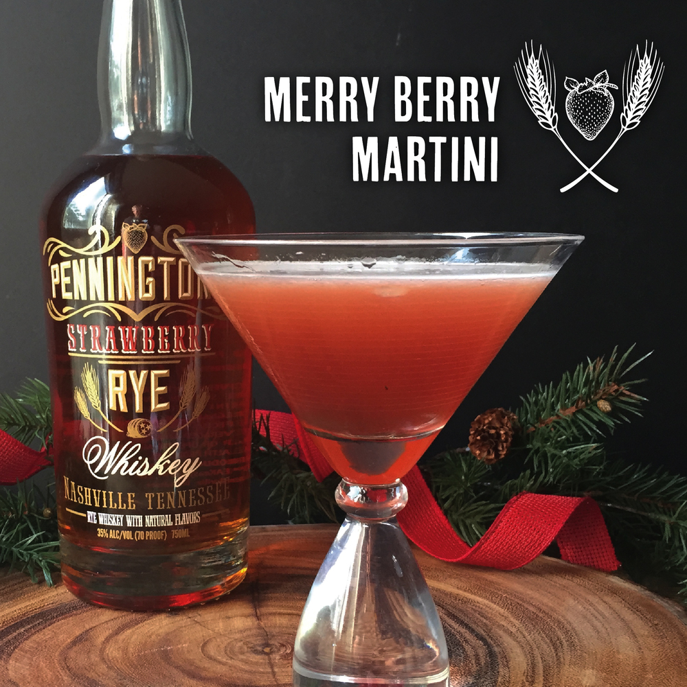 Merry Berry Martini from Pennington's Strawberry Rye Whiskey
