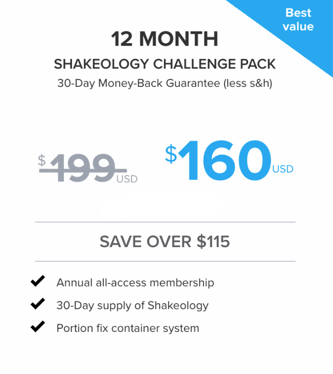 GET ALL OUR WORKOUTS FOR A YEAR + FIRST MONTH OF SHAKEOLOGY FOR $160. SHAKEOLOGY RETAILS FOR AROUND $130/MONTH - IF YOU DON'T WANT TO CONTINUE, YOU CAN CANCEL YOUR SHAKE ORDER ANYTIME WITHOUT HAVING TO CANCEL YOUR ON-DEMAND ACCESS.